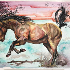 Original horse watercolour Aztec Bay