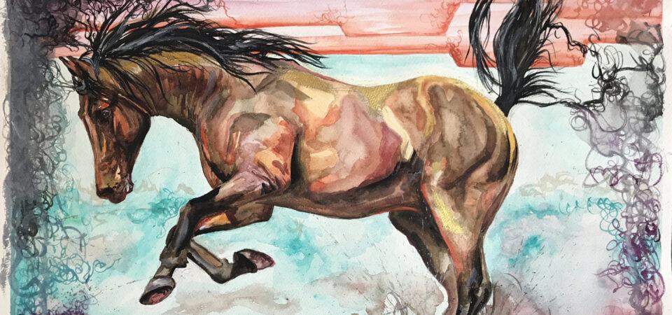 Original horse watercolour Aztec Bay